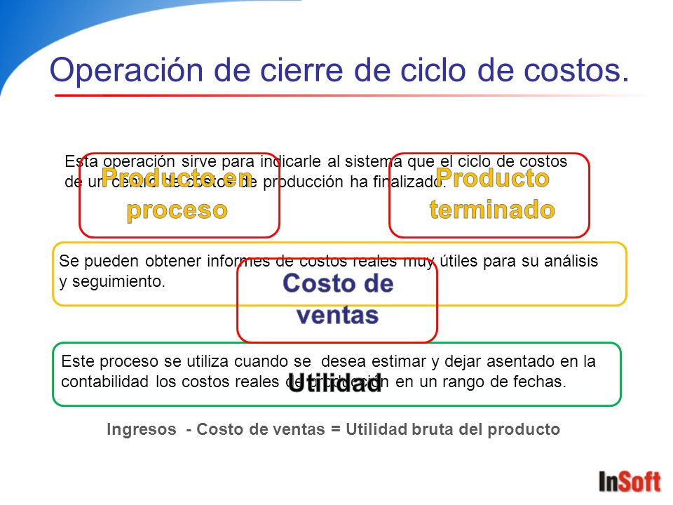Operación de cierre de ciclo de costos.