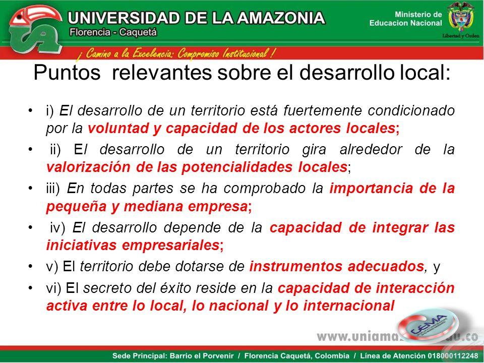 Puntos relevantes sobre el desarrollo local: