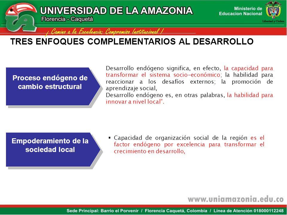 TRES ENFOQUES COMPLEMENTARIOS AL DESARROLLO