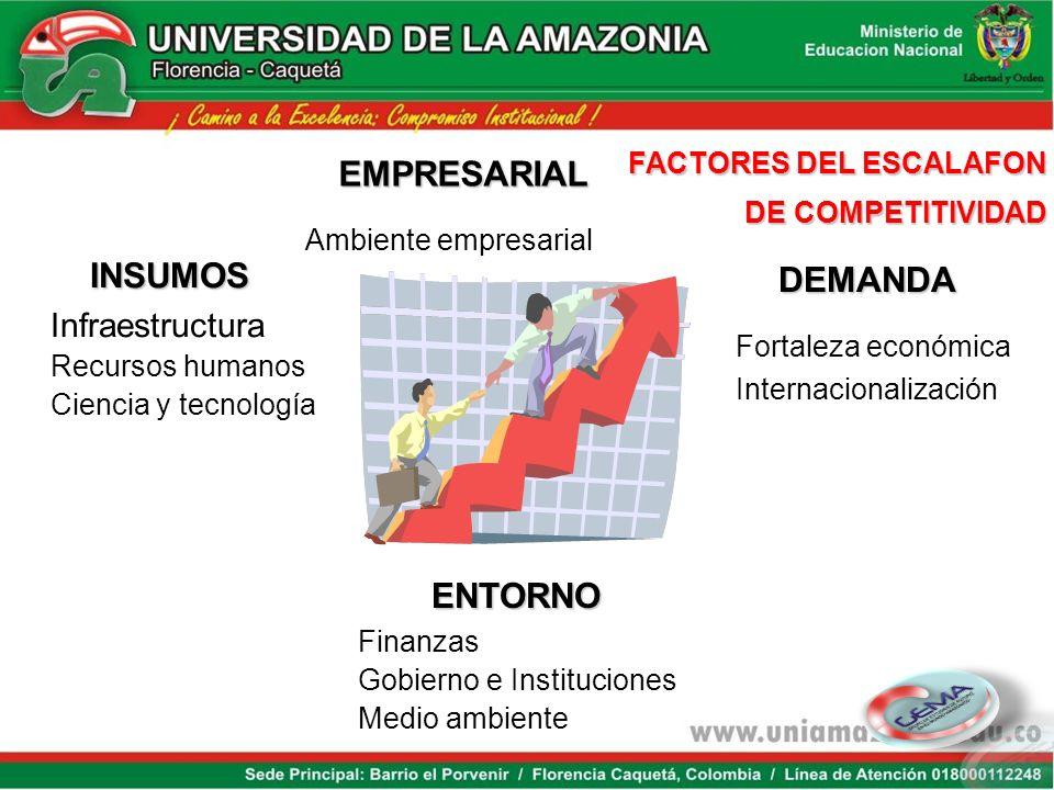 Ambiente empresarial Fortaleza económica EMPRESARIAL INSUMOS DEMANDA