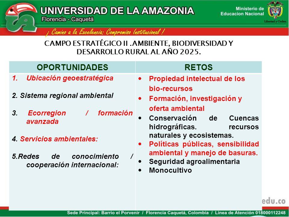 OPORTUNIDADES RETOS CAMPO ESTRATÉGICO II .AMBIENTE, BIODIVERSIDAD Y
