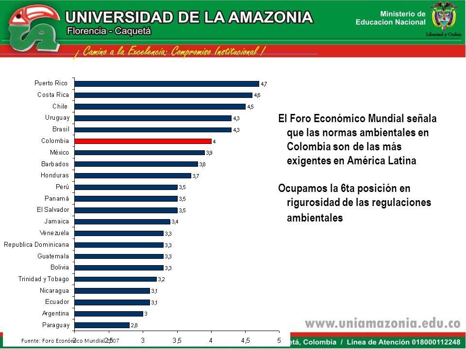 El Foro Económico Mundial señala que las normas ambientales en Colombia son de las más exigentes en América Latina