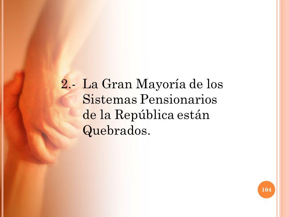 2. -. La Gran Mayoría de los. Sistemas Pensionarios