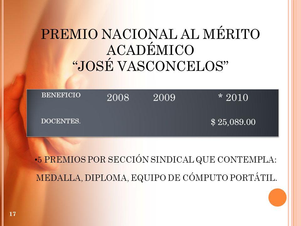 PREMIO NACIONAL AL MÉRITO ACADÉMICO JOSÉ VASCONCELOS