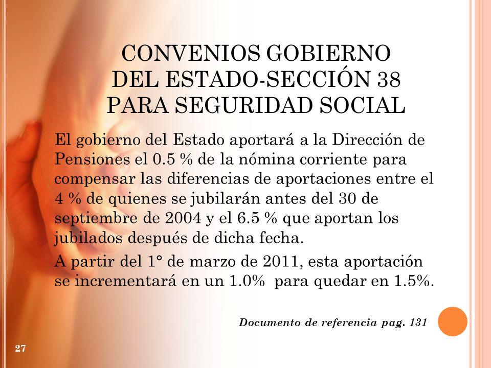 CONVENIOS GOBIERNO DEL ESTADO-SECCIÓN 38 PARA SEGURIDAD SOCIAL