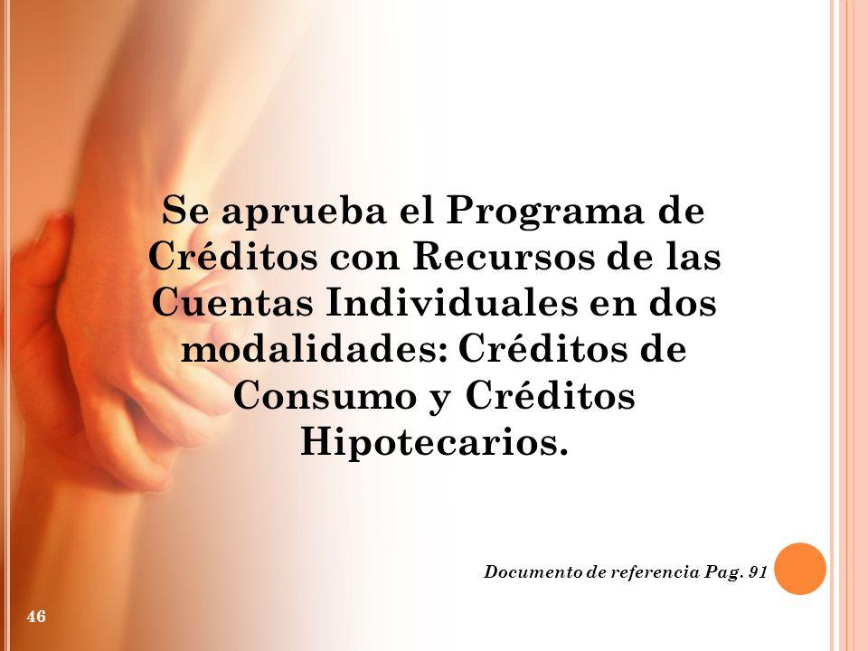 Se aprueba el Programa de Créditos con Recursos de las Cuentas Individuales en dos modalidades: Créditos de Consumo y Créditos Hipotecarios.