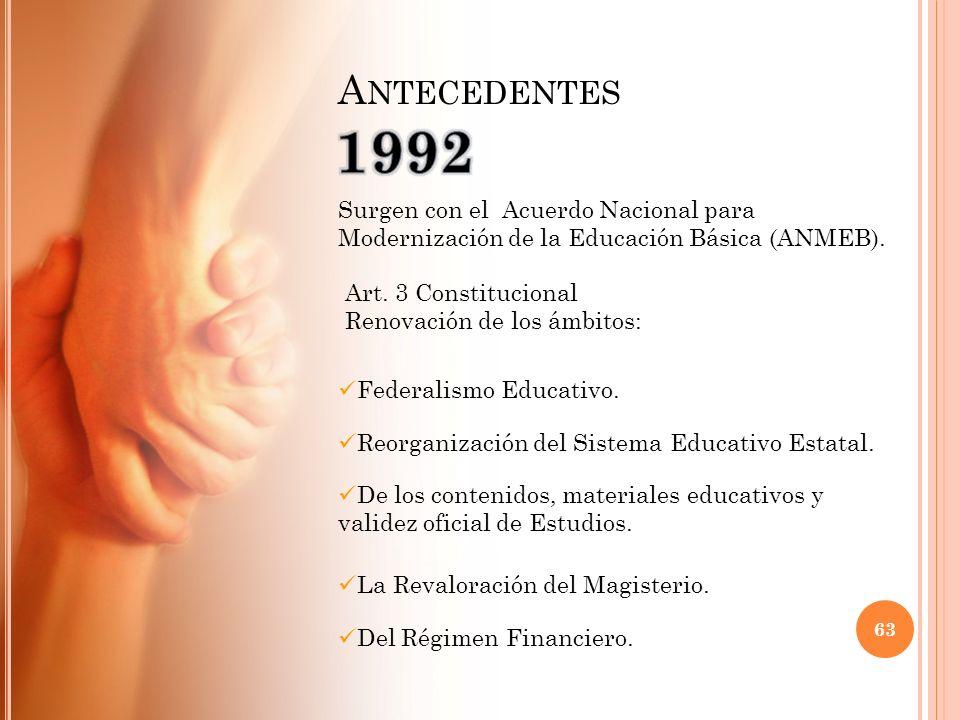 Antecedentes 1992. Surgen con el Acuerdo Nacional para Modernización de la Educación Básica (ANMEB).