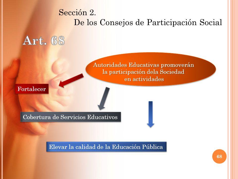 Art. 68 De los Consejos de Participación Social Sección 2.