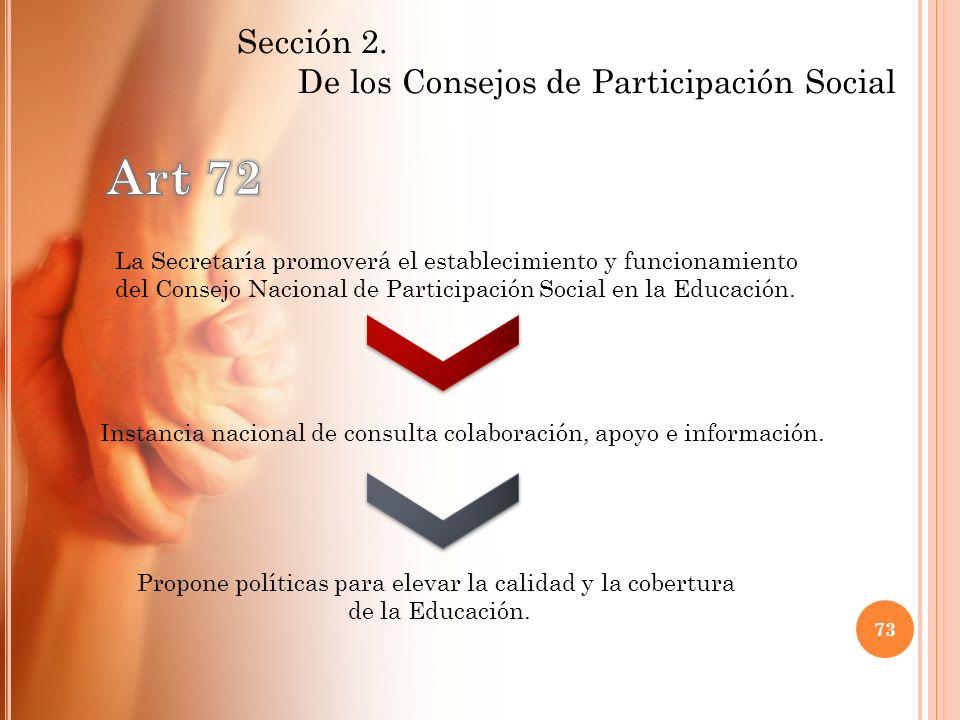 Art 72 De los Consejos de Participación Social Sección 2.