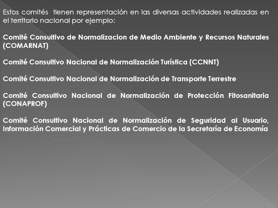 Estos comités tienen representación en las diversas actividades realizadas en el territorio nacional por ejemplo: