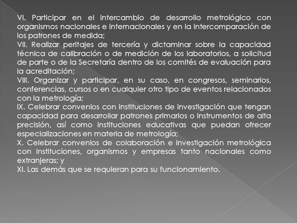 VI. Participar en el intercambio de desarrollo metrológico con organismos nacionales e internacionales y en la intercomparación de los patrones de medida;