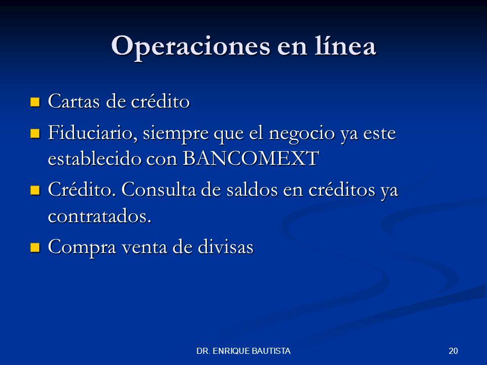 Operaciones en línea Cartas de crédito