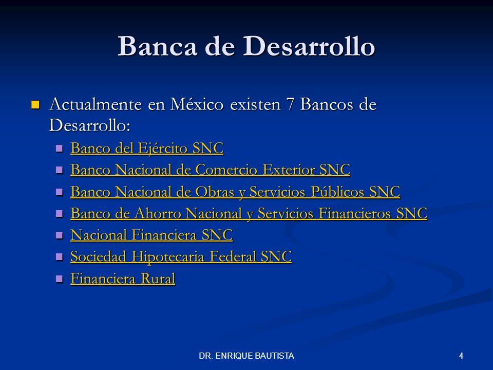 Banca de Desarrollo Actualmente en México existen 7 Bancos de Desarrollo: Banco del Ejército SNC.