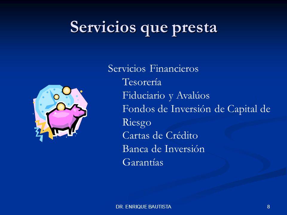 Servicios que presta Servicios Financieros Tesorería