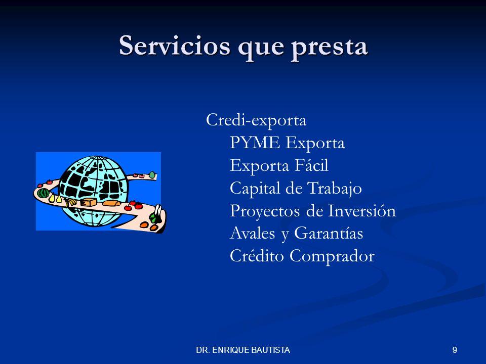 Servicios que presta Credi-exporta PYME Exporta Exporta Fácil