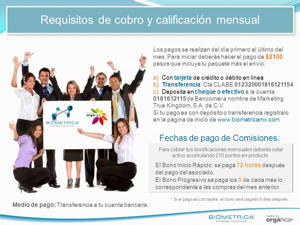Requisitos de cobro y calificación mensual