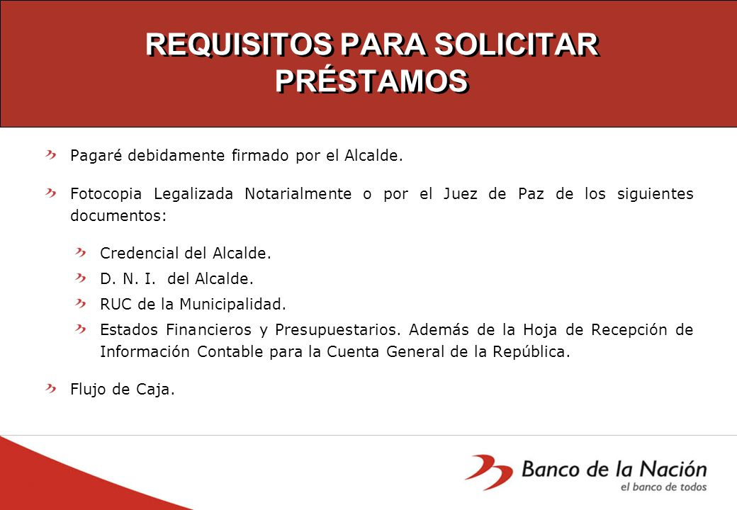REQUISITOS PARA SOLICITAR PRÉSTAMOS