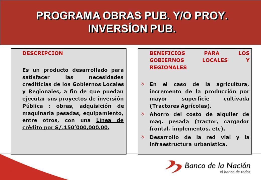 PROGRAMA OBRAS PUB. Y/O PROY. INVERSÍON PUB.