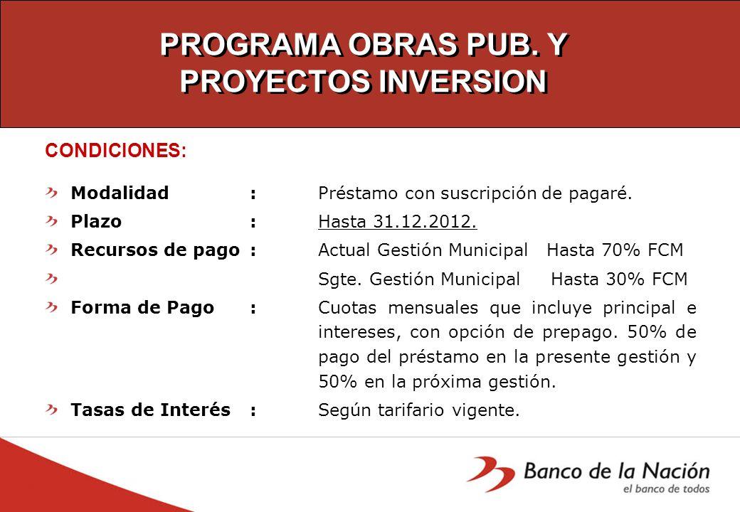 PROGRAMA OBRAS PUB. Y PROYECTOS INVERSION