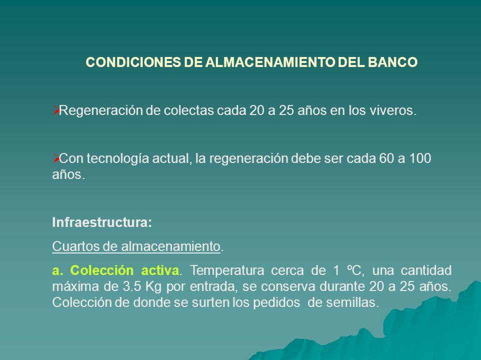 CONDICIONES DE ALMACENAMIENTO DEL BANCO