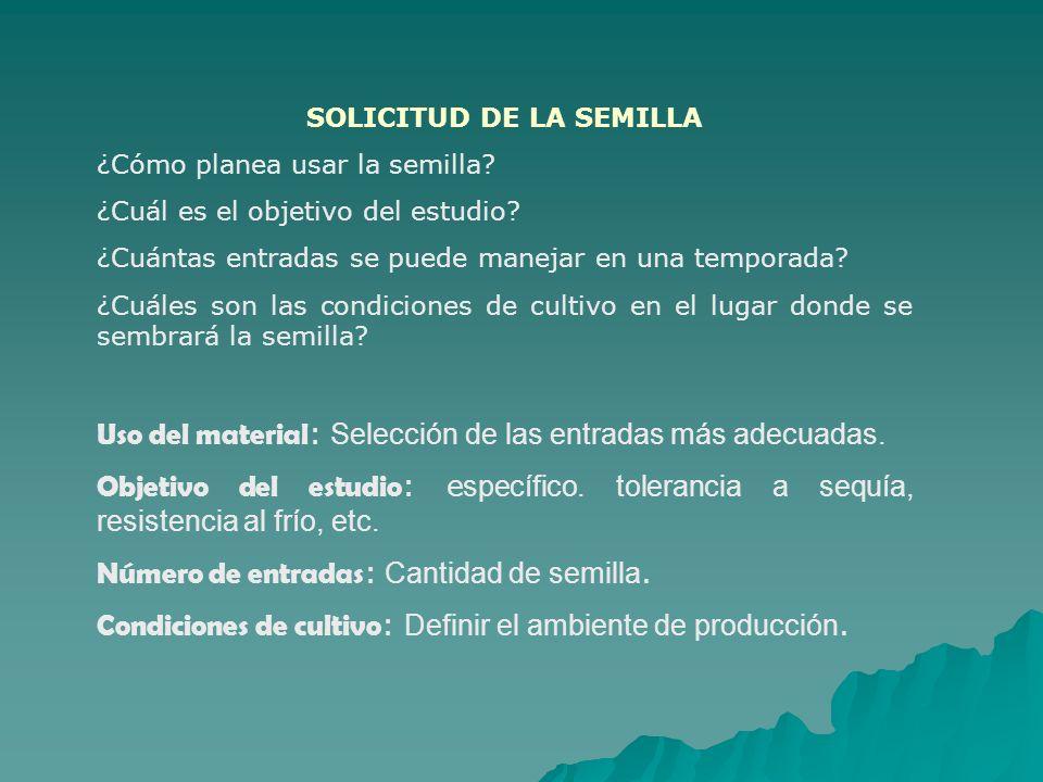 SOLICITUD DE LA SEMILLA