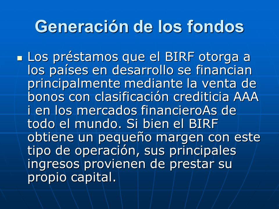Generación de los fondos
