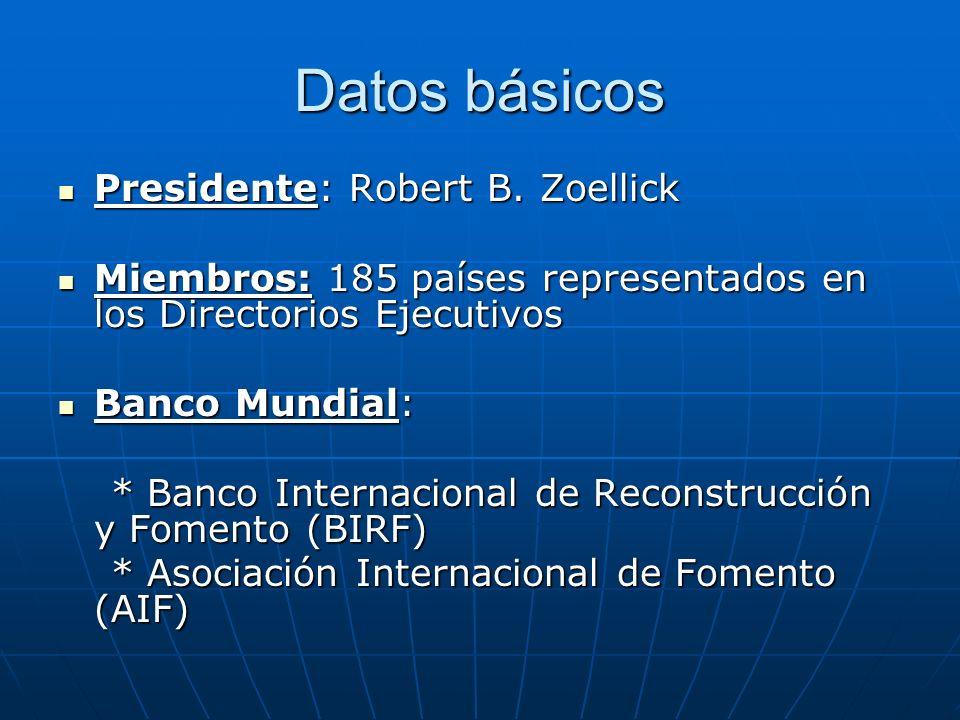 Datos básicos Presidente: Robert B. Zoellick