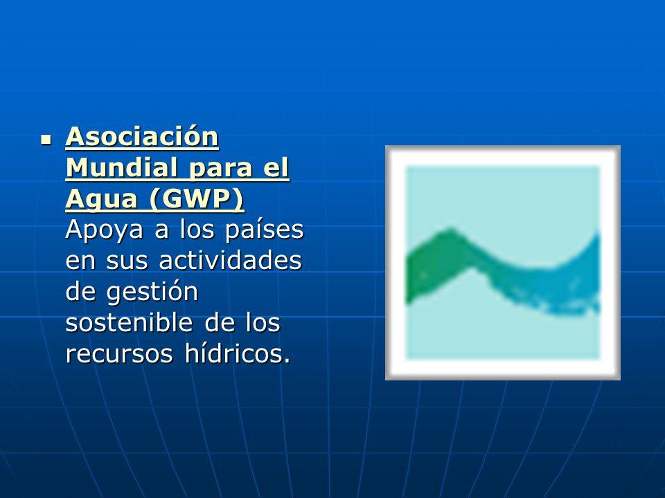 Asociación Mundial para el Agua (GWP) Apoya a los países en sus actividades de gestión sostenible de los recursos hídricos.