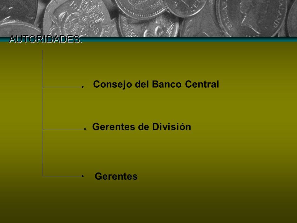 AUTORIDADES. Consejo del Banco Central Gerentes de División Gerentes