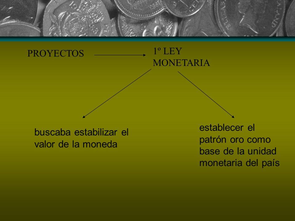 1º LEY MONETARIA PROYECTOS. establecer el patrón oro como base de la unidad monetaria del país.