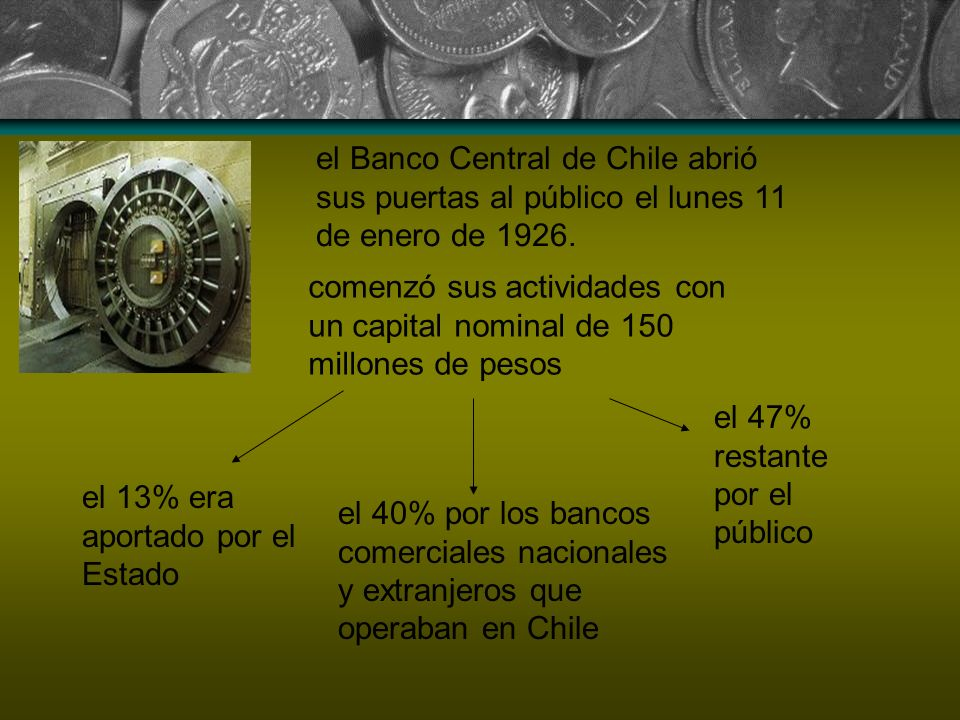 el Banco Central de Chile abrió sus puertas al público el lunes 11 de enero de 1926.