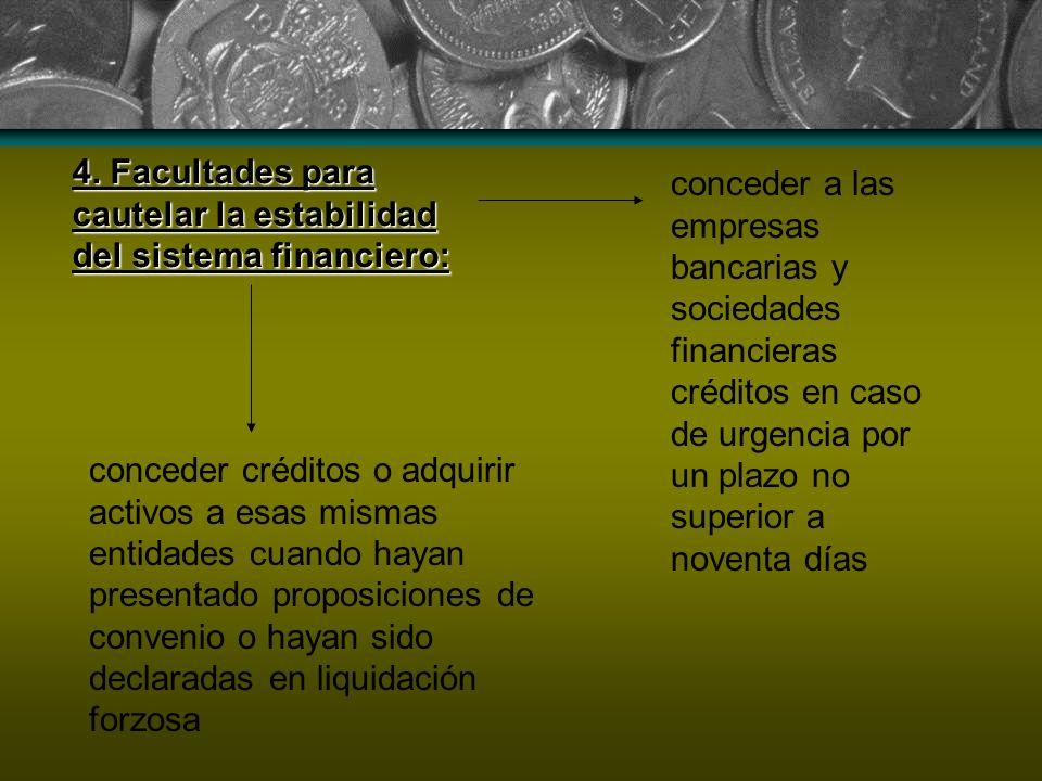 4. Facultades para cautelar la estabilidad del sistema financiero: