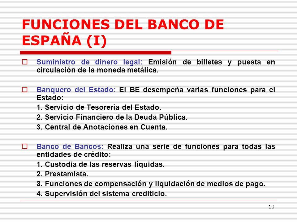 FUNCIONES DEL BANCO DE ESPAÑA (I)