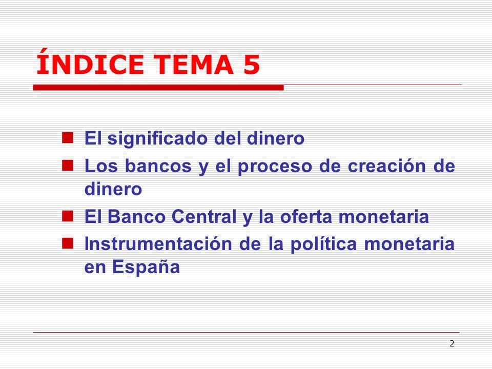 ÍNDICE TEMA 5 El significado del dinero