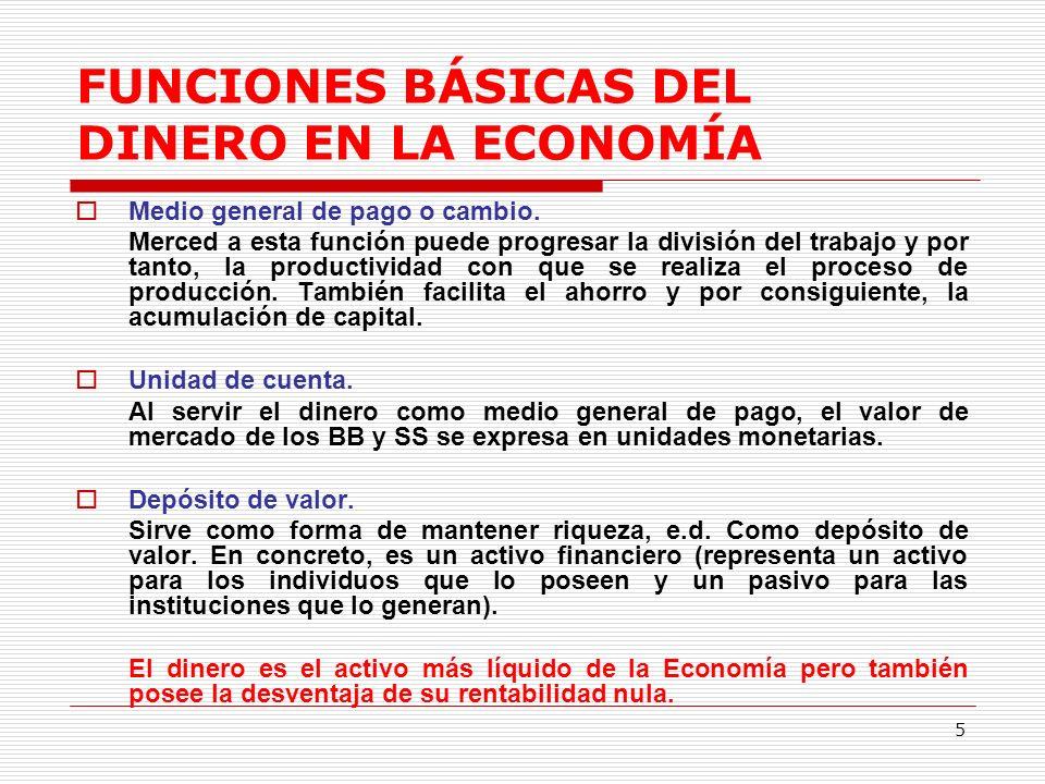 FUNCIONES BÁSICAS DEL DINERO EN LA ECONOMÍA