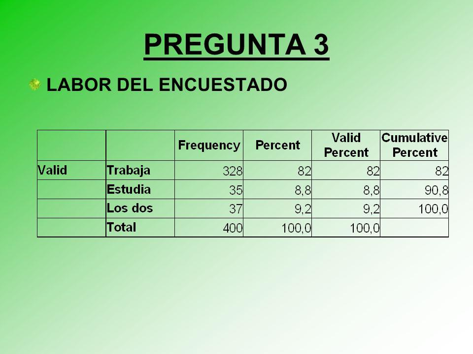 PREGUNTA 3 LABOR DEL ENCUESTADO