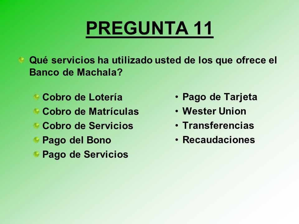 PREGUNTA 11 Qué servicios ha utilizado usted de los que ofrece el Banco de Machala Cobro de Lotería.