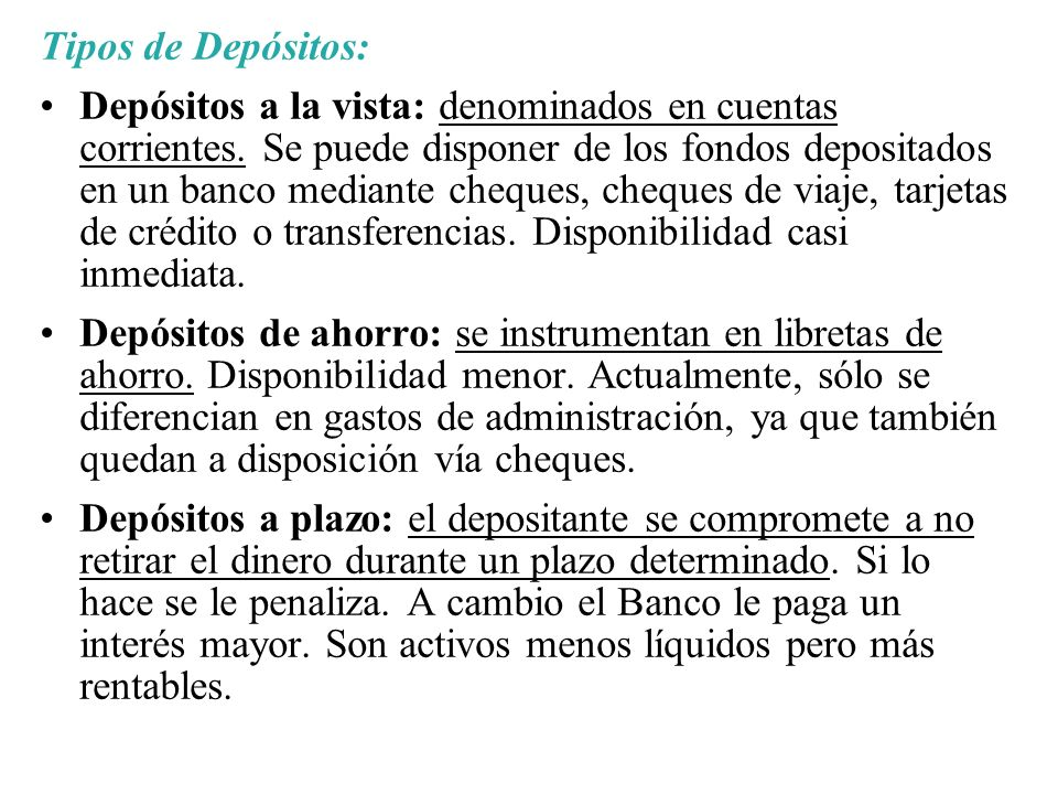 Tipos de Depósitos: