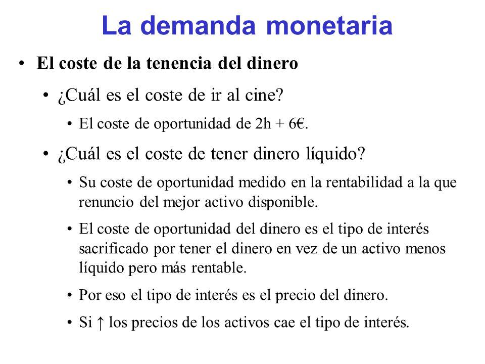 La demanda monetaria El coste de la tenencia del dinero
