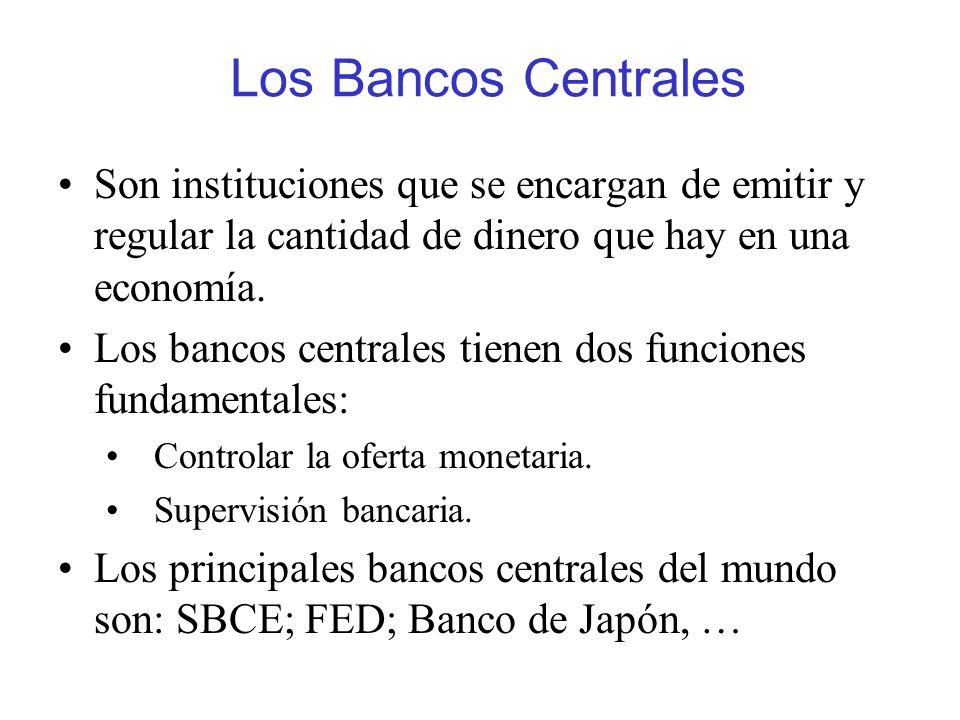 Los Bancos Centrales Son instituciones que se encargan de emitir y regular la cantidad de dinero que hay en una economía.