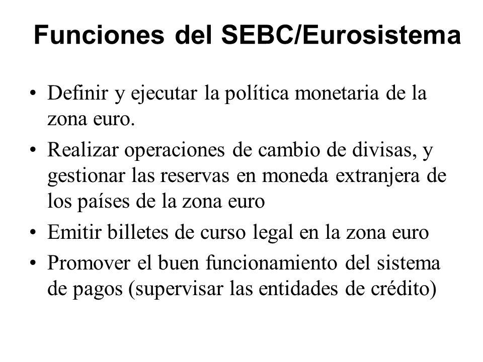 Funciones del SEBC/Eurosistema
