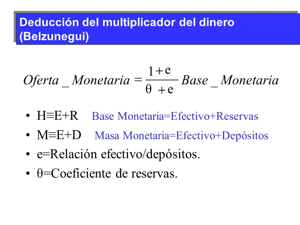 Monetaria Base Oferta _ 1 + = e θ