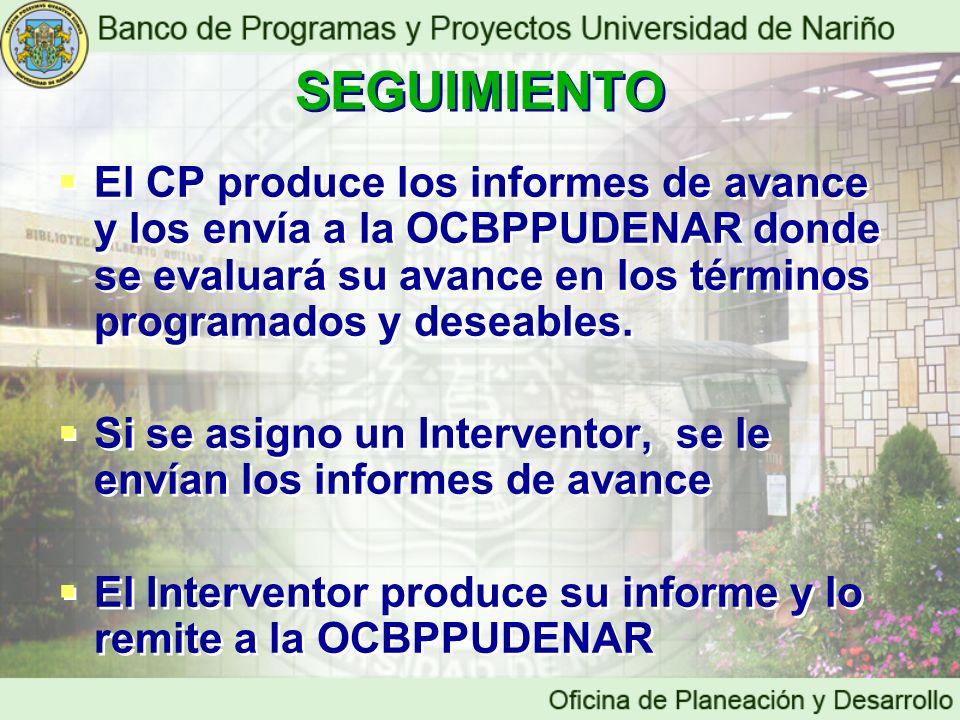 SEGUIMIENTO El CP produce los informes de avance y los envía a la OCBPPUDENAR donde se evaluará su avance en los términos programados y deseables.