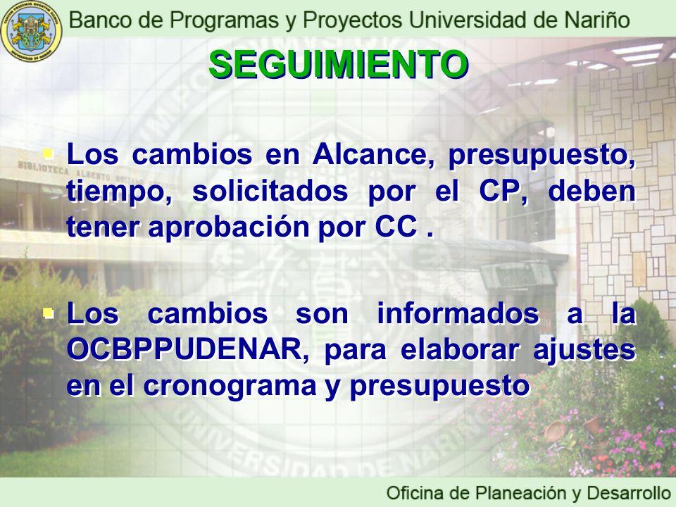 SEGUIMIENTO Los cambios en Alcance, presupuesto, tiempo, solicitados por el CP, deben tener aprobación por CC .
