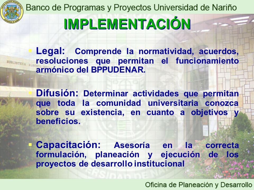 IMPLEMENTACIÓN Legal: Comprende la normatividad, acuerdos, resoluciones que permitan el funcionamiento armónico del BPPUDENAR.