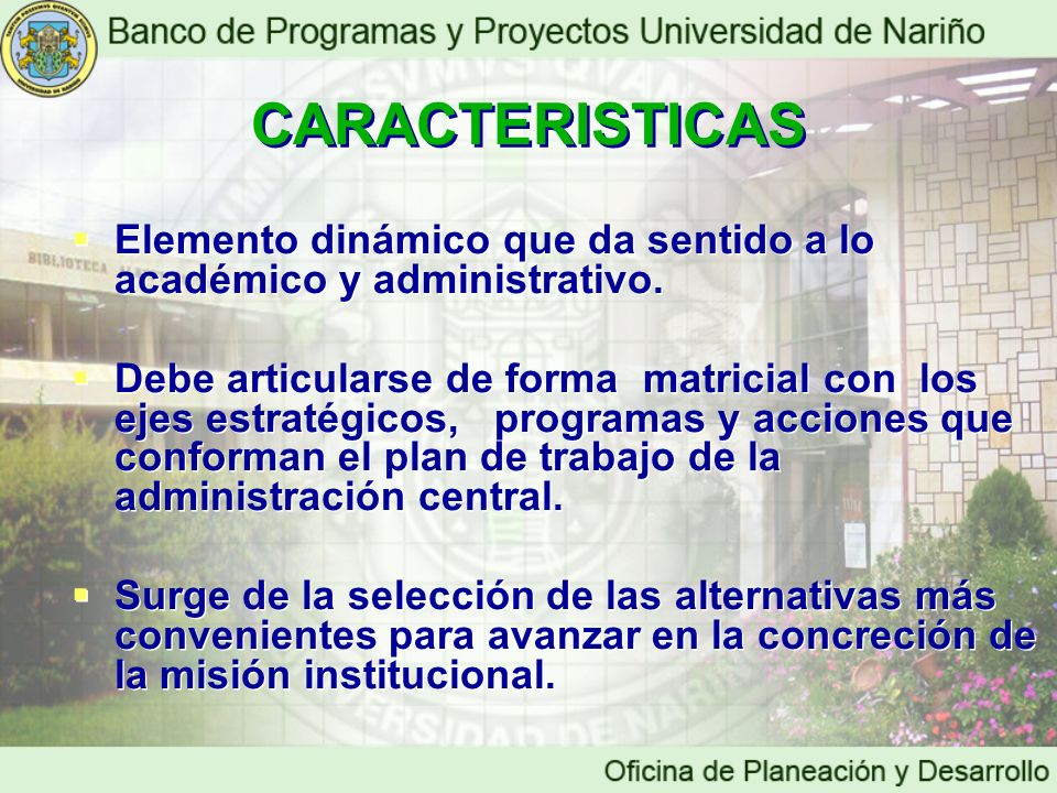 CARACTERISTICAS Elemento dinámico que da sentido a lo académico y administrativo.