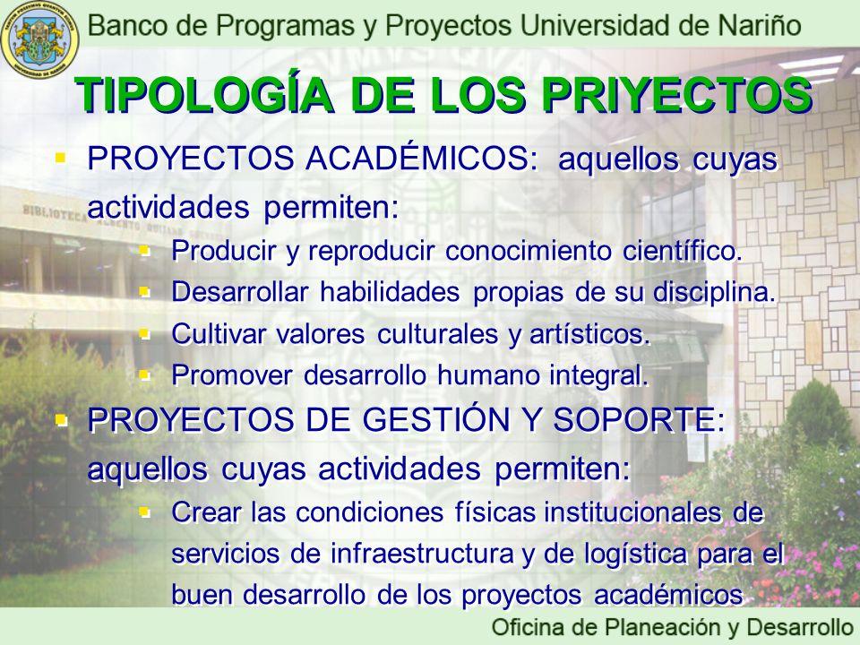 TIPOLOGÍA DE LOS PRIYECTOS