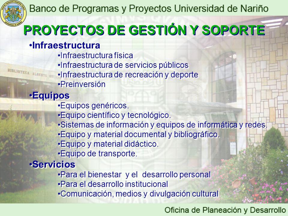 PROYECTOS DE GESTIÓN Y SOPORTE