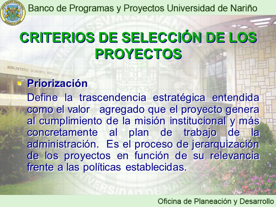 CRITERIOS DE SELECCIÓN DE LOS PROYECTOS