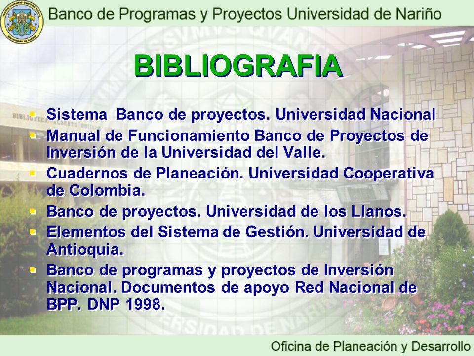 BIBLIOGRAFIA Sistema Banco de proyectos. Universidad Nacional